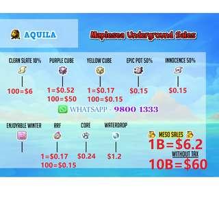 Maplesea Maplestory Aquila Meso / PC / YC / RRF / CSS / @cash / Equips/ unique svc / legend services