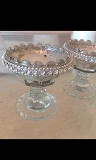 2 Crystal Glass Tea light Candle Holders