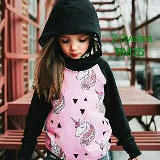Baby Kid Hoodie With Head Unicorn Printed Long Sleeve Autumn