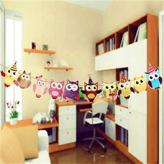 *FREE DELIVERY to WM only / Ready stock* Owl party pennants as shown design/color. Free delivery is applied for this item.