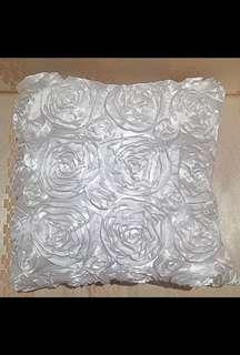 Like New Designer White Plush Rose Cushion Pillow Cover