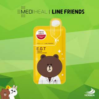 Mediheal Line Friends E.G.T Timetox Ampoule Face Mask Sheet 27ml X 10pcs