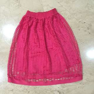 Pink Skirt With Elastic Waistband