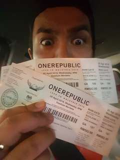 Onerepublic rock zone tickets 2 for 600