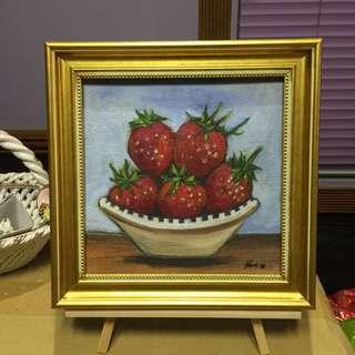 Strawberries oil painting