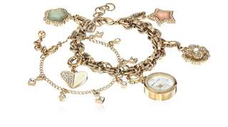 Anne Klein 2pc set Swarovski Crystal Accented Charm Watch and Bracelet