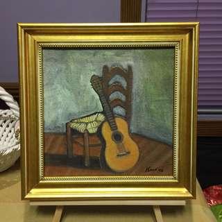 Guitar oil painting