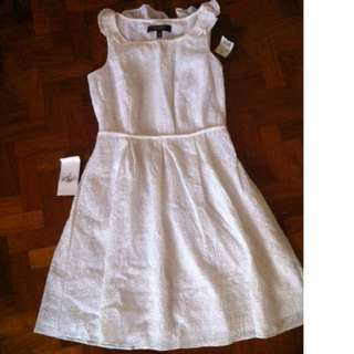 Nine West white sundress with ruffle collar - BRAND NEW, IMPORTED