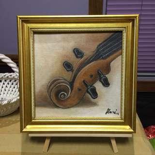 Violin oil painting