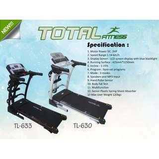 Treadmill Elektrik Total TL 633 Auto Incline Tredmill Paling Murah