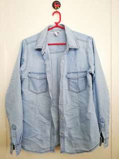 Long Sleeve Denim Polo Shirt