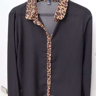 F21 Black Blouse with Leopard Print