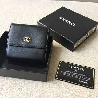 AUTHENTIC CHANEL Compact Short Calfskin Wallet Purse