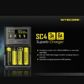 Nitecore SC4 Ultra Fast Universal Charger For Li-ion / IMR / LiFePO4/ NiMH / NiCd