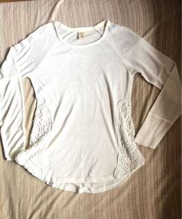 White Long Sleeves with Lace on the side