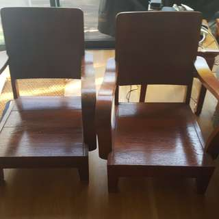 2 old colonial teak chairs