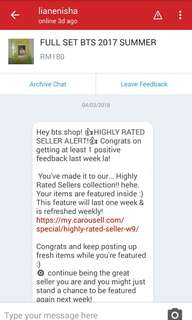 7TH HIGHLY RATED SELLER ! THANK YOU ♡