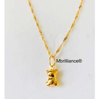 Kid's baby bear pendant & slim twist chain necklace set , 916 Gold by mbrilliance