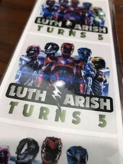 Goodie bag stickers labels birthday party customised - power ranger