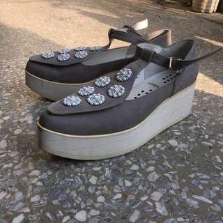 Tokyo Bopper UNBILICAL No.154 / Gray nubuck leather/灰色花花厚底鞋
