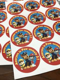Paw patrol birthday party stickers labels customised