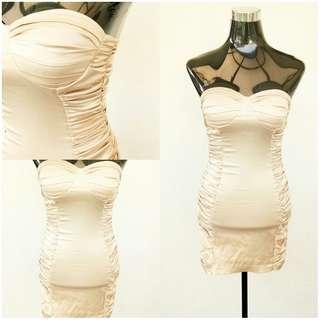 Forever 21 Gold Tube Strapless Dress