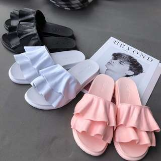 Minimei追加款✪韓系韓版涼拖鞋女夏韓版荷葉邊一字拖休閒外穿沙灘拖鞋時尚室內家居拖鞋女