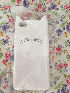 白色貓貓軟殼iPhone Case