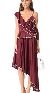 Tallulah Orlando Burgundy Frill Pearl Dress Size M