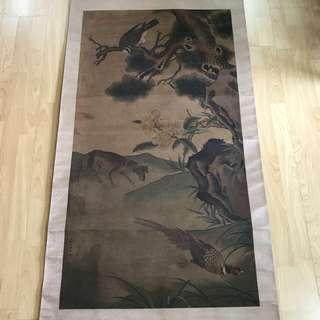 {Collectibles Item - Ancient Ink Painting} 清朝古画 Qing Dynasty Chinese Ancient Painting On Silk -【花鳥中荃圖】 軸画長6尺6寸(198cm) 寛2尺6寸(75cm) - 郎世寧,原名朱塞佩·伽斯㡳里奥内(意大利语: Gluseppe Castiglione),【1688年7月19日-1766年7月17日】意大利人,天主教耶穌會傳教士及中國满清宫𨑳畫家,寫實畫風纪录了清朝初期的中國宫廷人物與景色。