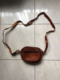 Small Brown Leather Sling Bag