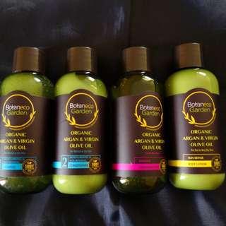 ORGANIC ARGAN OIL TRAVEL BATH SET (shampoo, conditioner, lotion, scrub)