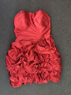 Red Satin Formal/ Evening Ruffle Cocktail Strapless Dress