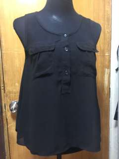 Buttoned Sheer Blouse (Black)