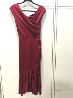 Charina Sarte red off shoulder dress