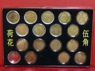 「新三花」中國第五套流通硬幣「荷花5角」,年份2002至2017共16枚,每枚独立圓盒包裝。