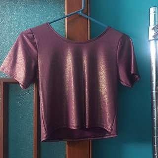 Pink/Purple Gold Shimmer Crop Top