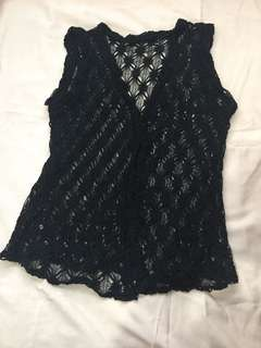 Black lace beach cover up