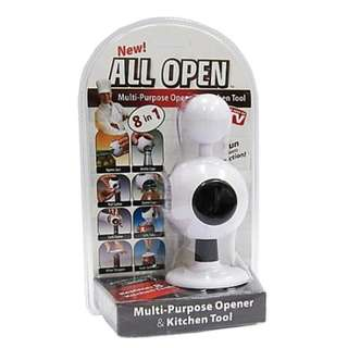 ALL OPEN Multi-Purpose Can Opener and Kitchen Tool (8 in 1)
