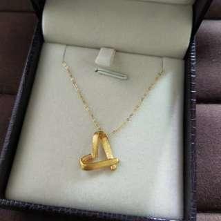 黃金愛心吊飾加18k金鍊