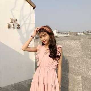 Summer Dress Loose Sleeveless Long Solid Cake Dress