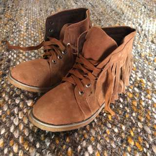 Fringed Brown Boots