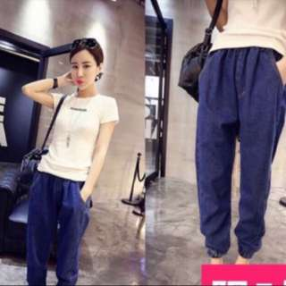NEW CASUAL DENIM HAREM PANT
