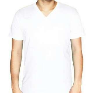 100% Cotton V-Neck - White
