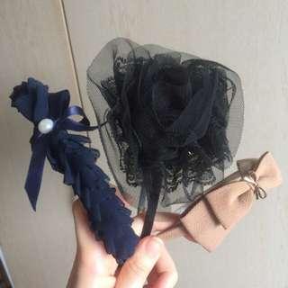 BN Hair Band  - Beige Ribbon / Black Tulle Rose / Korean Navy Blue Ruffles