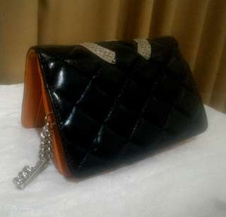 Rush Authentic Chanel wallet black with orange inner Limited Edition