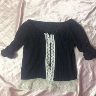 Black n white laced cardigan