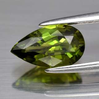 1.31ct Pear Natural Yellowish Green Chrome Tourmaline