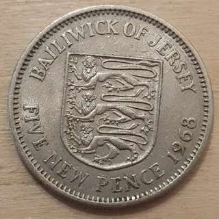 1968 Bailiwick of Jersey Great Britaim Queen Elizabeth II 5 New Pence Coin