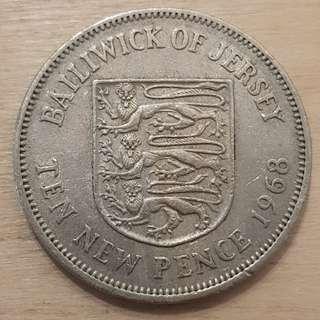 1968 Bailiwick of Jersey Great Britain Queen Elizabeth II 10 New Pence Coin